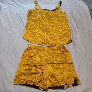 Sophia Graydon Mustard Gold Silk Pajamas L